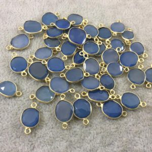 Shop Blue Chalcedony Beads! Blue Chalcedony Bezel | Gold Vermeil Pointed Cut Stone Faceted Freeform Shaped Bezel Connector – Measuring 10mm X 11mm – Natural Gemstone | Natural genuine faceted Blue Chalcedony beads for beading and jewelry making.  #jewelry #beads #beadedjewelry #diyjewelry #jewelrymaking #beadstore #beading #affiliate #ad