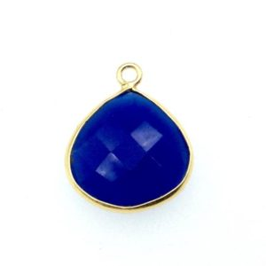 Shop Blue Chalcedony Beads! Cobalt Blue Chalcedony Bezel | Gold Finish Faceted Natural Heart Teardrop Shaped Two Ring Connector Component – Measuring 15mm X 15mm | Natural genuine faceted Blue Chalcedony beads for beading and jewelry making.  #jewelry #beads #beadedjewelry #diyjewelry #jewelrymaking #beadstore #beading #affiliate #ad