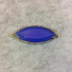 Shop Blue Chalcedony Beads! Gold Finish Faceted Cz Rimmed Cobalt Blue Chalcedony Marquis Shaped Bezel Connector Component – Measures 17 X 42mm – Sold Individually | Natural genuine faceted Blue Chalcedony beads for beading and jewelry making.  #jewelry #beads #beadedjewelry #diyjewelry #jewelrymaking #beadstore #beading #affiliate #ad
