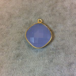 Shop Blue Chalcedony Beads! Gold Finish Faceted Semi-transparent Pale Blue Chalcedony Diamond Shaped Bezel Pendant – Measuring 18mm X 18mm – Natural Gemstone | Natural genuine faceted Blue Chalcedony beads for beading and jewelry making.  #jewelry #beads #beadedjewelry #diyjewelry #jewelrymaking #beadstore #beading #affiliate #ad