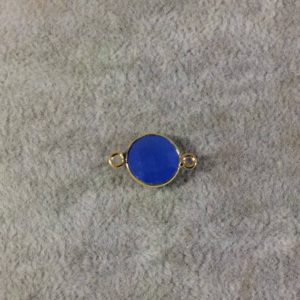 Shop Blue Chalcedony Beads! Gold Plated Faceted Natural Semi-opaque Blue Chalcedony Round / coin Shaped Bezel Connector – Measuring 10mm X 10mm – Sold Individually | Natural genuine faceted Blue Chalcedony beads for beading and jewelry making.  #jewelry #beads #beadedjewelry #diyjewelry #jewelrymaking #beadstore #beading #affiliate #ad