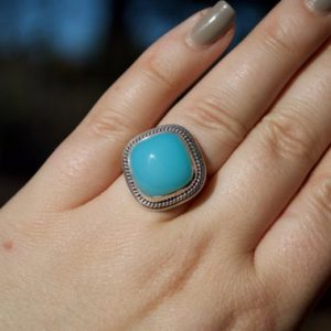 Shop Blue Chalcedony Rings! Bright Blue Chalcedony Ring // Chalcedony Jewelry // Sterling Silver // Village Silversmith | Natural genuine Blue Chalcedony rings, simple unique handcrafted gemstone rings. #rings #jewelry #shopping #gift #handmade #fashion #style #affiliate #ad