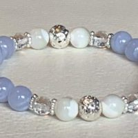 Blue Lace Agate Bracelet, Silver Beaded Bracelet, Blue Lace Agate Jewelry, March Birthstone, Crystal Braceletchristmas | Natural genuine Gemstone jewelry. Buy crystal jewelry, handmade handcrafted artisan jewelry for women.  Unique handmade gift ideas. #jewelry #beadedjewelry #beadedjewelry #gift #shopping #handmadejewelry #fashion #style #product #jewelry #affiliate #ad