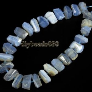Shop Blue Lace Agate Chip & Nugget Beads! Blue Lace Agate,15 inch full strand natural Blue Lace Agate,Blue Chalecdony faceted nugget beads,irregula,centre drilled beads 10-13×18-22mm | Natural genuine chip Blue Lace Agate beads for beading and jewelry making.  #jewelry #beads #beadedjewelry #diyjewelry #jewelrymaking #beadstore #beading #affiliate #ad