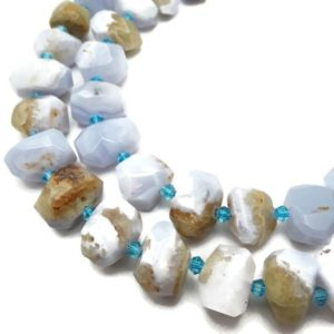 """Shop Blue Lace Agate Chip & Nugget Beads! Blue Lace Agate Faceted Nugget Chunk Beads Approx 13x20mm 15.5"""" Strand 