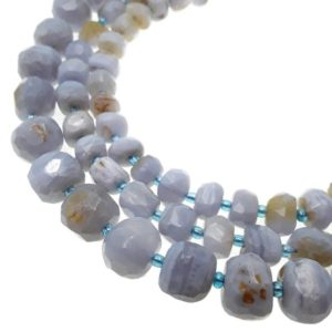 "Blue Lace Agate Faceted Nugget Chunks Beads 7x8mm 8x9mm 11x12mm 15.5"" Strand 