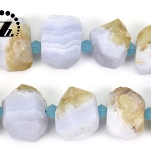 """Shop Blue Lace Agate Chip & Nugget Beads! Blue Lace Agate matte faceted nugget beads,frosted bead,centre drilled bead,Blue Chalecdony,Agate beads,8-14×16-18mm,15"""" full strand 