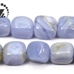 """Shop Blue Lace Agate Chip & Nugget Beads! Blue Lace Agate smooth freedom cube beads,freedom nugget bead,Irregular bead,Blue Chalecdony,agate bead,natural,8-10×10-14mm,15"""" full strand 