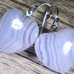 Shop Blue Lace Agate Earrings! Blue Lace Agate Hearts, Healing Stone Earrings With Positive Healing Energy! | Natural genuine Blue Lace Agate earrings. Buy crystal jewelry, handmade handcrafted artisan jewelry for women.  Unique handmade gift ideas. #jewelry #beadedearrings #beadedjewelry #gift #shopping #handmadejewelry #fashion #style #product #earrings #affiliate #ad