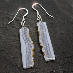Shop Blue Lace Agate Earrings! Blue Skies – Blue Lace Agate Sterling Silver Earrings | Natural genuine Blue Lace Agate earrings. Buy crystal jewelry, handmade handcrafted artisan jewelry for women.  Unique handmade gift ideas. #jewelry #beadedearrings #beadedjewelry #gift #shopping #handmadejewelry #fashion #style #product #earrings #affiliate #ad