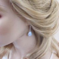 Blue Lace Agate Earrings, Sterling Silver Leverbacks With Pear Briolettes, Simple Drop Earrings | Natural genuine Gemstone jewelry. Buy crystal jewelry, handmade handcrafted artisan jewelry for women.  Unique handmade gift ideas. #jewelry #beadedjewelry #beadedjewelry #gift #shopping #handmadejewelry #fashion #style #product #jewelry #affiliate #ad