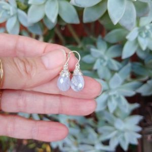 Sweet Blue Lace Agate Earrings. Available In Silver, Gold, And Rose Gold Filled | Natural genuine Blue Lace Agate earrings. Buy crystal jewelry, handmade handcrafted artisan jewelry for women.  Unique handmade gift ideas. #jewelry #beadedearrings #beadedjewelry #gift #shopping #handmadejewelry #fashion #style #product #earrings #affiliate #ad