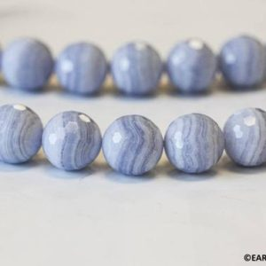 """Shop Blue Lace Agate Faceted Beads! L-XL/ Blue Lace Agate 16mm/ 18mm/ 20mm Faceted Round Beads 15.5"""" strand Gem Quality Banded Agate For High Quality Jewelry Making 