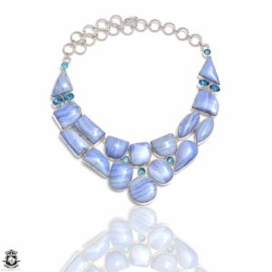 Shop Blue Lace Agate Necklaces! Blue Lace Agate Genuine Gemstone Necklace NK170 | Natural genuine Blue Lace Agate necklaces. Buy crystal jewelry, handmade handcrafted artisan jewelry for women.  Unique handmade gift ideas. #jewelry #beadednecklaces #beadedjewelry #gift #shopping #handmadejewelry #fashion #style #product #necklaces #affiliate #ad