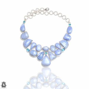 Shop Blue Lace Agate Necklaces! Namibian Blue Lace Agate Genuine Gemstone Necklace NK233 | Natural genuine Blue Lace Agate necklaces. Buy crystal jewelry, handmade handcrafted artisan jewelry for women.  Unique handmade gift ideas. #jewelry #beadednecklaces #beadedjewelry #gift #shopping #handmadejewelry #fashion #style #product #necklaces #affiliate #ad