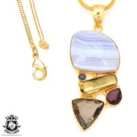 Blue Lace Agate 24k Gold Plated Pendant 3mm Italian Snake Chain Gp66 | Natural genuine Gemstone jewelry. Buy crystal jewelry, handmade handcrafted artisan jewelry for women.  Unique handmade gift ideas. #jewelry #beadedjewelry #beadedjewelry #gift #shopping #handmadejewelry #fashion #style #product #jewelry #affiliate #ad