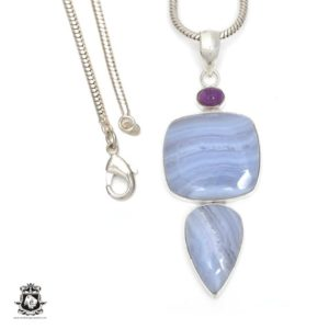 Shop Blue Lace Agate Pendants! Blue Lace Agate Pendant 4MM Italian Snake Chain P6384 | Natural genuine Blue Lace Agate pendants. Buy crystal jewelry, handmade handcrafted artisan jewelry for women.  Unique handmade gift ideas. #jewelry #beadedpendants #beadedjewelry #gift #shopping #handmadejewelry #fashion #style #product #pendants #affiliate #ad