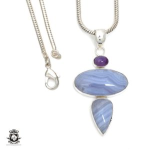 Shop Blue Lace Agate Pendants! Blue Lace Agate Pendant 4MM Italian Snake Chain P6433 | Natural genuine Blue Lace Agate pendants. Buy crystal jewelry, handmade handcrafted artisan jewelry for women.  Unique handmade gift ideas. #jewelry #beadedpendants #beadedjewelry #gift #shopping #handmadejewelry #fashion #style #product #pendants #affiliate #ad