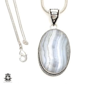 Shop Blue Lace Agate Pendants! BLUE LACE Agate Pendant 4MM Italian Snake Chain V1727 | Natural genuine Blue Lace Agate pendants. Buy crystal jewelry, handmade handcrafted artisan jewelry for women.  Unique handmade gift ideas. #jewelry #beadedpendants #beadedjewelry #gift #shopping #handmadejewelry #fashion #style #product #pendants #affiliate #ad