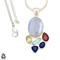 Blue Lace Agate Pendant 4mm Italian Snake Chain P6978 | Natural genuine Gemstone jewelry. Buy crystal jewelry, handmade handcrafted artisan jewelry for women.  Unique handmade gift ideas. #jewelry #beadedjewelry #beadedjewelry #gift #shopping #handmadejewelry #fashion #style #product #jewelry #affiliate #ad