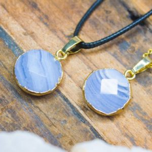 Shop Blue Lace Agate Pendants! Chalcedony Pendant Blue Lace Agate Necklace Polished Jewellery Gold Plated Blue Agate Pendant Birthday Gift July Cancer Leo Zodiac | Natural genuine Blue Lace Agate pendants. Buy crystal jewelry, handmade handcrafted artisan jewelry for women.  Unique handmade gift ideas. #jewelry #beadedpendants #beadedjewelry #gift #shopping #handmadejewelry #fashion #style #product #pendants #affiliate #ad
