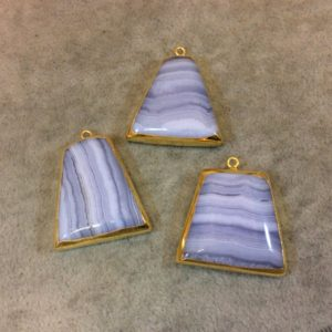 Shop Blue Lace Agate Pendants! Gold Electroplated Blue Lace Agate Trapezoid Shaped Focal Pendant – Measuring 25mm x 25mm Approximately – Sold Individually, Random | Natural genuine Blue Lace Agate pendants. Buy crystal jewelry, handmade handcrafted artisan jewelry for women.  Unique handmade gift ideas. #jewelry #beadedpendants #beadedjewelry #gift #shopping #handmadejewelry #fashion #style #product #pendants #affiliate #ad