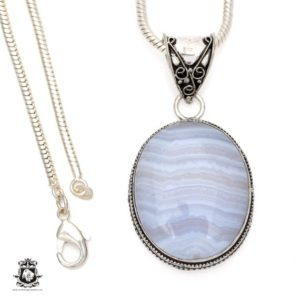 Shop Blue Lace Agate Pendants! Namibian BLUE LACE Agate Pendant 4MM Italian Snake Chain V544 | Natural genuine Blue Lace Agate pendants. Buy crystal jewelry, handmade handcrafted artisan jewelry for women.  Unique handmade gift ideas. #jewelry #beadedpendants #beadedjewelry #gift #shopping #handmadejewelry #fashion #style #product #pendants #affiliate #ad