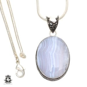 Shop Blue Lace Agate Pendants! Namibian BLUE LACE Agate Pendant 4MM Italian Snake Chain V542 | Natural genuine Blue Lace Agate pendants. Buy crystal jewelry, handmade handcrafted artisan jewelry for women.  Unique handmade gift ideas. #jewelry #beadedpendants #beadedjewelry #gift #shopping #handmadejewelry #fashion #style #product #pendants #affiliate #ad