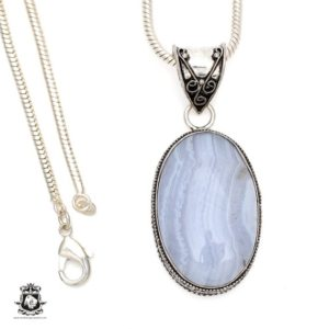 Shop Blue Lace Agate Pendants! Namibian BLUE LACE Agate Pendant 4MM Italian Snake Chain V547 | Natural genuine Blue Lace Agate pendants. Buy crystal jewelry, handmade handcrafted artisan jewelry for women.  Unique handmade gift ideas. #jewelry #beadedpendants #beadedjewelry #gift #shopping #handmadejewelry #fashion #style #product #pendants #affiliate #ad