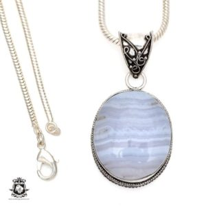 Shop Blue Lace Agate Pendants! Namibian BLUE LACE Agate Pendant 4MM Italian Snake Chain V546 | Natural genuine Blue Lace Agate pendants. Buy crystal jewelry, handmade handcrafted artisan jewelry for women.  Unique handmade gift ideas. #jewelry #beadedpendants #beadedjewelry #gift #shopping #handmadejewelry #fashion #style #product #pendants #affiliate #ad
