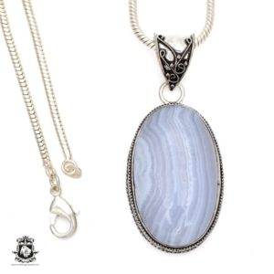 Shop Blue Lace Agate Pendants! Namibian BLUE LACE Agate Pendant 4MM Italian Snake Chain V551 | Natural genuine Blue Lace Agate pendants. Buy crystal jewelry, handmade handcrafted artisan jewelry for women.  Unique handmade gift ideas. #jewelry #beadedpendants #beadedjewelry #gift #shopping #handmadejewelry #fashion #style #product #pendants #affiliate #ad