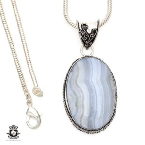 Shop Blue Lace Agate Pendants! Namibian BLUE LACE Agate Pendant 4MM Italian Snake Chain V549 | Natural genuine Blue Lace Agate pendants. Buy crystal jewelry, handmade handcrafted artisan jewelry for women.  Unique handmade gift ideas. #jewelry #beadedpendants #beadedjewelry #gift #shopping #handmadejewelry #fashion #style #product #pendants #affiliate #ad