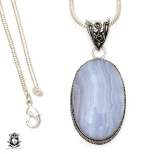 Shop Blue Lace Agate Pendants! Namibian BLUE LACE Agate Pendant 4MM Italian Snake Chain V555 | Natural genuine Blue Lace Agate pendants. Buy crystal jewelry, handmade handcrafted artisan jewelry for women.  Unique handmade gift ideas. #jewelry #beadedpendants #beadedjewelry #gift #shopping #handmadejewelry #fashion #style #product #pendants #affiliate #ad