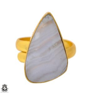 Shop Blue Lace Agate Rings! Size 9.5 – Size 11 Adjustable Blue Lace Agate 24K Gold Plated Ring GPR1701   Natural genuine Blue Lace Agate rings, simple unique handcrafted gemstone rings. #rings #jewelry #shopping #gift #handmade #fashion #style #affiliate #ad