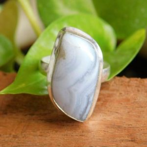 Shop Blue Lace Agate Rings! Blue Lace Ring, Sterling Silver Ring,Statement Ring,Birthstone Ring,Blue Lace agate gemstone Ring, agate ring,gift for her,A109   Natural genuine Blue Lace Agate rings, simple unique handcrafted gemstone rings. #rings #jewelry #shopping #gift #handmade #fashion #style #affiliate #ad