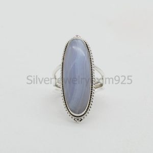 Shop Blue Lace Agate Rings! Blue Lace Agate Ring   925 Sterling Silver Rings   Engagement Ring   10×30 mm Oval Blue Lace Agate Ring   Big Stone Jewelry   Promise Ring   Natural genuine Blue Lace Agate rings, simple unique alternative gemstone engagement rings. #rings #jewelry #bridal #wedding #jewelryaccessories #engagementrings #weddingideas #affiliate #ad
