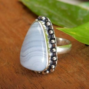 Shop Blue Lace Agate Rings! Blue Lace Ring, Sterling Silver Ring,Statement Ring,Birthstone Ring,Blue Lace agate gemstone Ring, agate ring,gift for her,A111   Natural genuine Blue Lace Agate rings, simple unique handcrafted gemstone rings. #rings #jewelry #shopping #gift #handmade #fashion #style #affiliate #ad