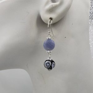 Shop Blue Calcite Earrings! Calcite Blue (Natural) & Lampwork Beads on Sterling Silver Earr Wires   Natural genuine Blue Calcite earrings. Buy crystal jewelry, handmade handcrafted artisan jewelry for women.  Unique handmade gift ideas. #jewelry #beadedearrings #beadedjewelry #gift #shopping #handmadejewelry #fashion #style #product #earrings #affiliate #ad
