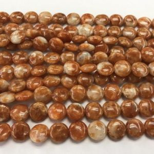 Natural Calcite 12mm Flat Round Orange Genuine Gemstone Loose Coin Beads 15 Inch Jewelry Supply Bracelet Necklace Material Support Wholesale | Natural genuine other-shape Gemstone beads for beading and jewelry making.  #jewelry #beads #beadedjewelry #diyjewelry #jewelrymaking #beadstore #beading #affiliate #ad