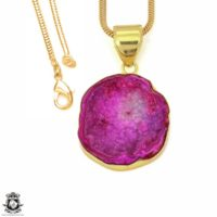 Cobalto Calcite Geode 24k Gold Plated Pendant 3mm Italian Snake Chain Gph1184 | Natural genuine Gemstone jewelry. Buy crystal jewelry, handmade handcrafted artisan jewelry for women.  Unique handmade gift ideas. #jewelry #beadedjewelry #beadedjewelry #gift #shopping #handmadejewelry #fashion #style #product #jewelry #affiliate #ad