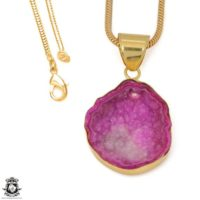 Cobalto Calcite Geode 24k Gold Plated Pendant 3mm Italian Snake Chain Gph1180 | Natural genuine Gemstone jewelry. Buy crystal jewelry, handmade handcrafted artisan jewelry for women.  Unique handmade gift ideas. #jewelry #beadedjewelry #beadedjewelry #gift #shopping #handmadejewelry #fashion #style #product #jewelry #affiliate #ad