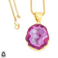Cobalto Calcite Geode 24k Gold Plated Pendant 3mm Italian Snake Chain Gph1183 | Natural genuine Gemstone jewelry. Buy crystal jewelry, handmade handcrafted artisan jewelry for women.  Unique handmade gift ideas. #jewelry #beadedjewelry #beadedjewelry #gift #shopping #handmadejewelry #fashion #style #product #jewelry #affiliate #ad