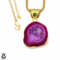 Cobalto Calcite Geode 24k Gold Plated Pendant 3mm Italian Snake Chain Gph1195 | Natural genuine Gemstone jewelry. Buy crystal jewelry, handmade handcrafted artisan jewelry for women.  Unique handmade gift ideas. #jewelry #beadedjewelry #beadedjewelry #gift #shopping #handmadejewelry #fashion #style #product #jewelry #affiliate #ad