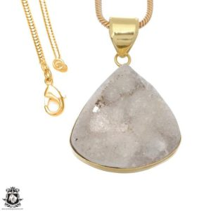 Shop Calcite Pendants! White Calcite Druzy 24K Gold Plated Pendant 3MM Italian Snake Chain GPH1664   Natural genuine Calcite pendants. Buy crystal jewelry, handmade handcrafted artisan jewelry for women.  Unique handmade gift ideas. #jewelry #beadedpendants #beadedjewelry #gift #shopping #handmadejewelry #fashion #style #product #pendants #affiliate #ad