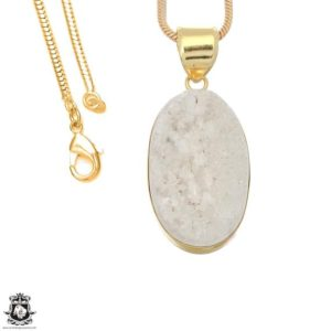 Shop Calcite Pendants! White Calcite Druzy 24K Gold Plated Pendant 3MM Italian Snake Chain GPH1665   Natural genuine Calcite pendants. Buy crystal jewelry, handmade handcrafted artisan jewelry for women.  Unique handmade gift ideas. #jewelry #beadedpendants #beadedjewelry #gift #shopping #handmadejewelry #fashion #style #product #pendants #affiliate #ad