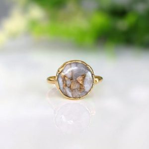 Shop Calcite Rings! White Calcite Copper ring, Statement ring, Gold Cocktail ring, Round stone ring, Gemstone Boho ring, Mothers Day gift, Birthday Gift for her | Natural genuine Calcite rings, simple unique handcrafted gemstone rings. #rings #jewelry #shopping #gift #handmade #fashion #style #affiliate #ad
