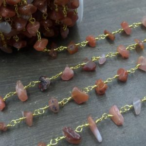 Carnelian Chips Chain Rosary Style Chain Wholesale Gemstone Beaded Chain Wire Wrapped Jewelry Chain Handmade Silver&gold Rosary Chain | Natural genuine chip Carnelian beads for beading and jewelry making.  #jewelry #beads #beadedjewelry #diyjewelry #jewelrymaking #beadstore #beading #affiliate #ad