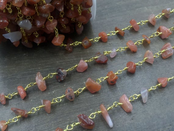 Carnelian Chips Chain Rosary Style Chain Wholesale Gemstone Beaded Chain Wire Wrapped Jewelry Chain Handmade Silver&gold Rosary Chain