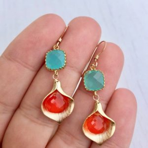 Carnelian Earrings, Aqua Chalcedony Drop Earrings, Calla Lily Earrings, Turquoise and Coral Earrings, Orange Flower Earrings, Gift for her | Natural genuine Carnelian earrings. Buy crystal jewelry, handmade handcrafted artisan jewelry for women.  Unique handmade gift ideas. #jewelry #beadedearrings #beadedjewelry #gift #shopping #handmadejewelry #fashion #style #product #earrings #affiliate #ad