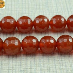 Shop Carnelian Round Beads! 15 inch strand of natural Carnelian faceted(128 faces) round beads 6mm 8mm 10mm 12mm 14mm for Choice | Natural genuine round Carnelian beads for beading and jewelry making.  #jewelry #beads #beadedjewelry #diyjewelry #jewelrymaking #beadstore #beading #affiliate #ad